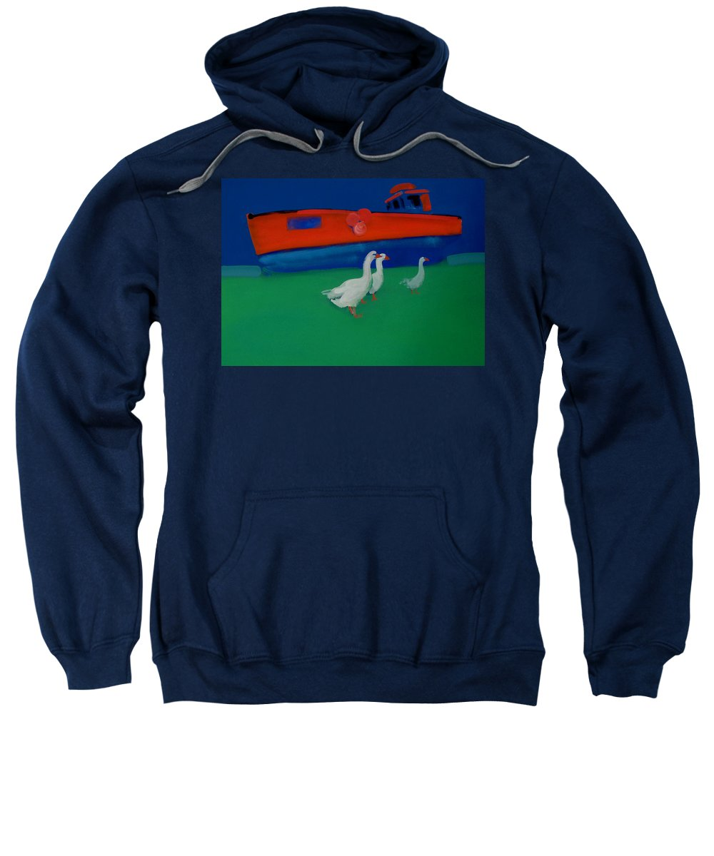 Geese Sweatshirt featuring the painting Cool And Dry by Charles Stuart