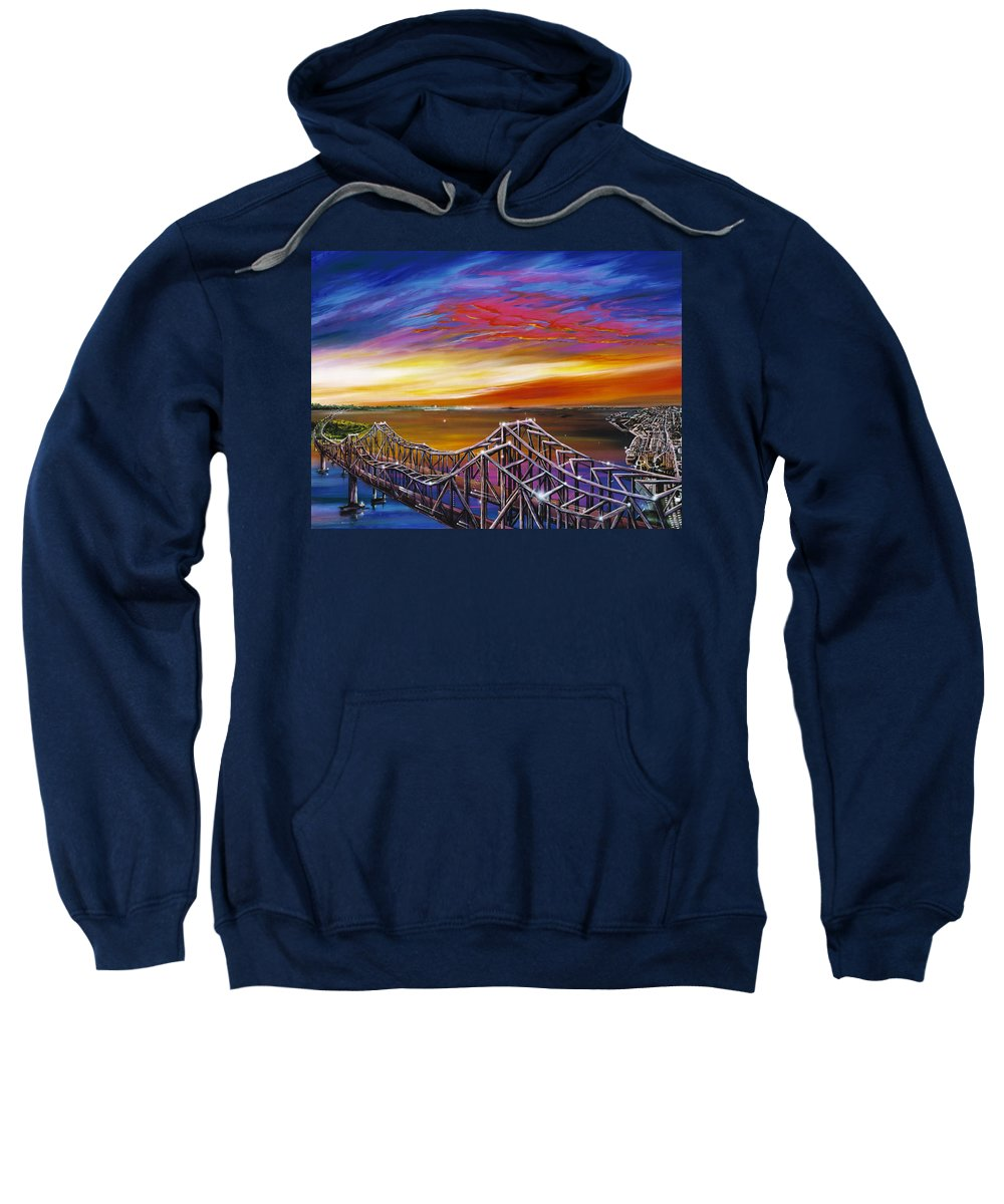 Clouds Sweatshirt featuring the painting Cooper River Bridge by James Christopher Hill