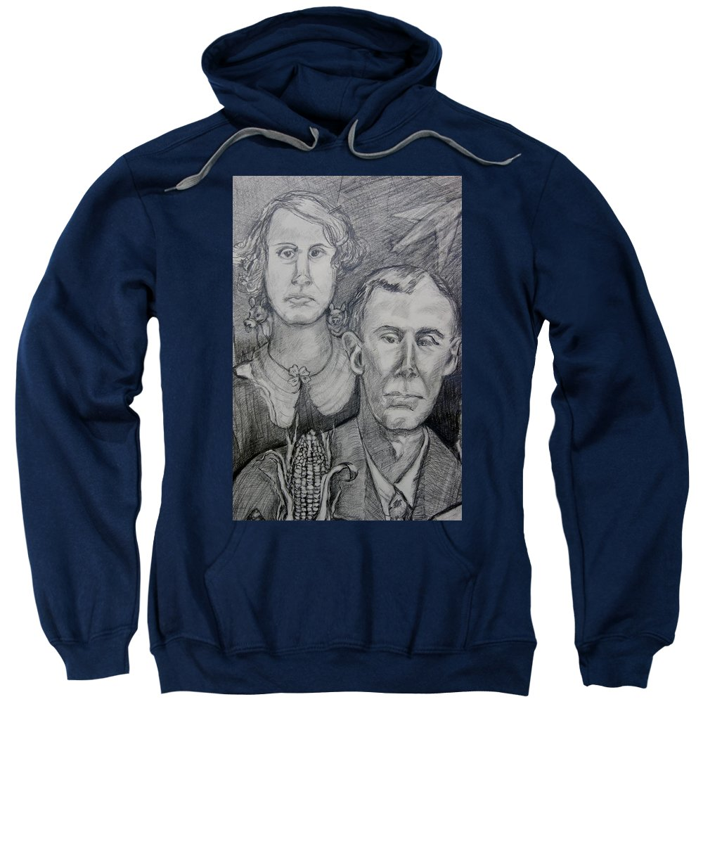 Portrait Sweatshirt featuring the drawing Corn,cows And Rocket Ships by Susan Brown  Slizys art signature name