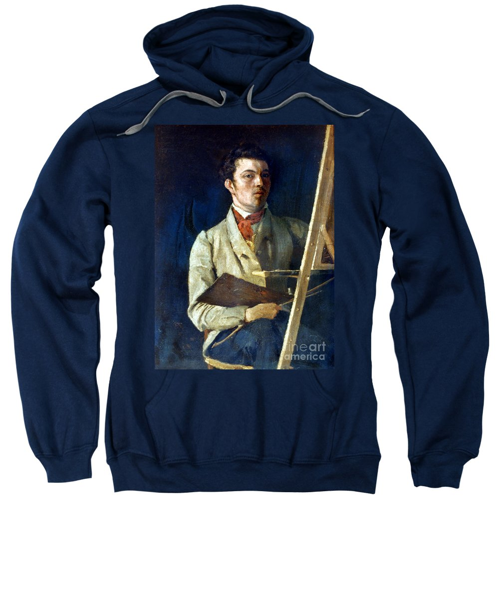 1825 Sweatshirt featuring the photograph Corot With Easel, 1825 by Granger