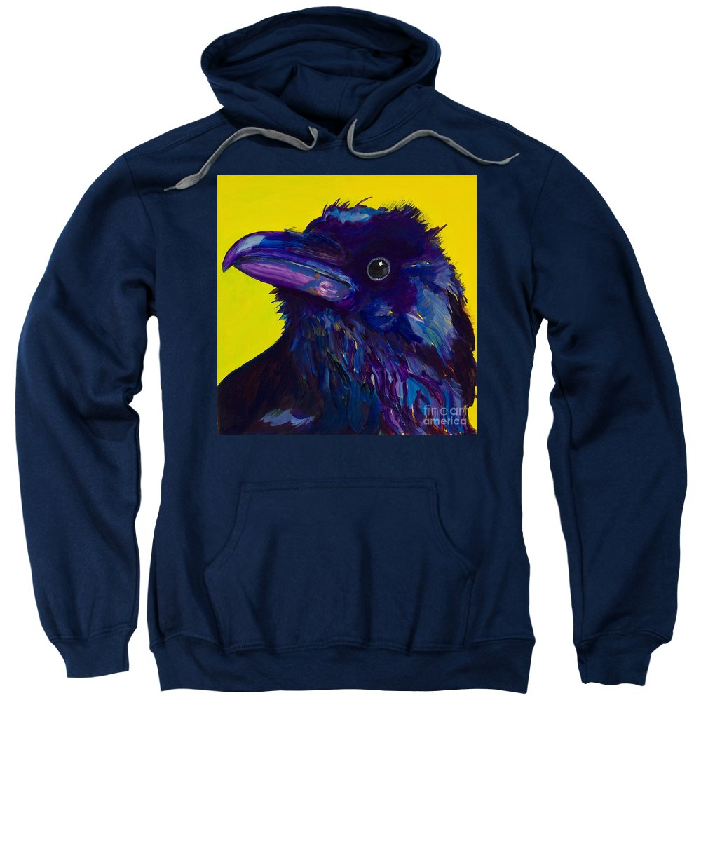 Bird Sweatshirt featuring the painting Corvus by Pat Saunders-White