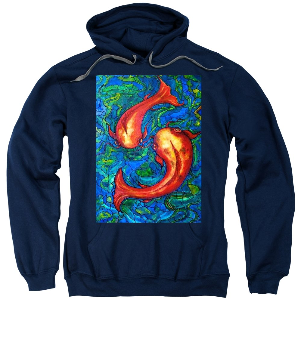 Original Painting Sweatshirt featuring the painting Courtship by Rae Chichilnitsky