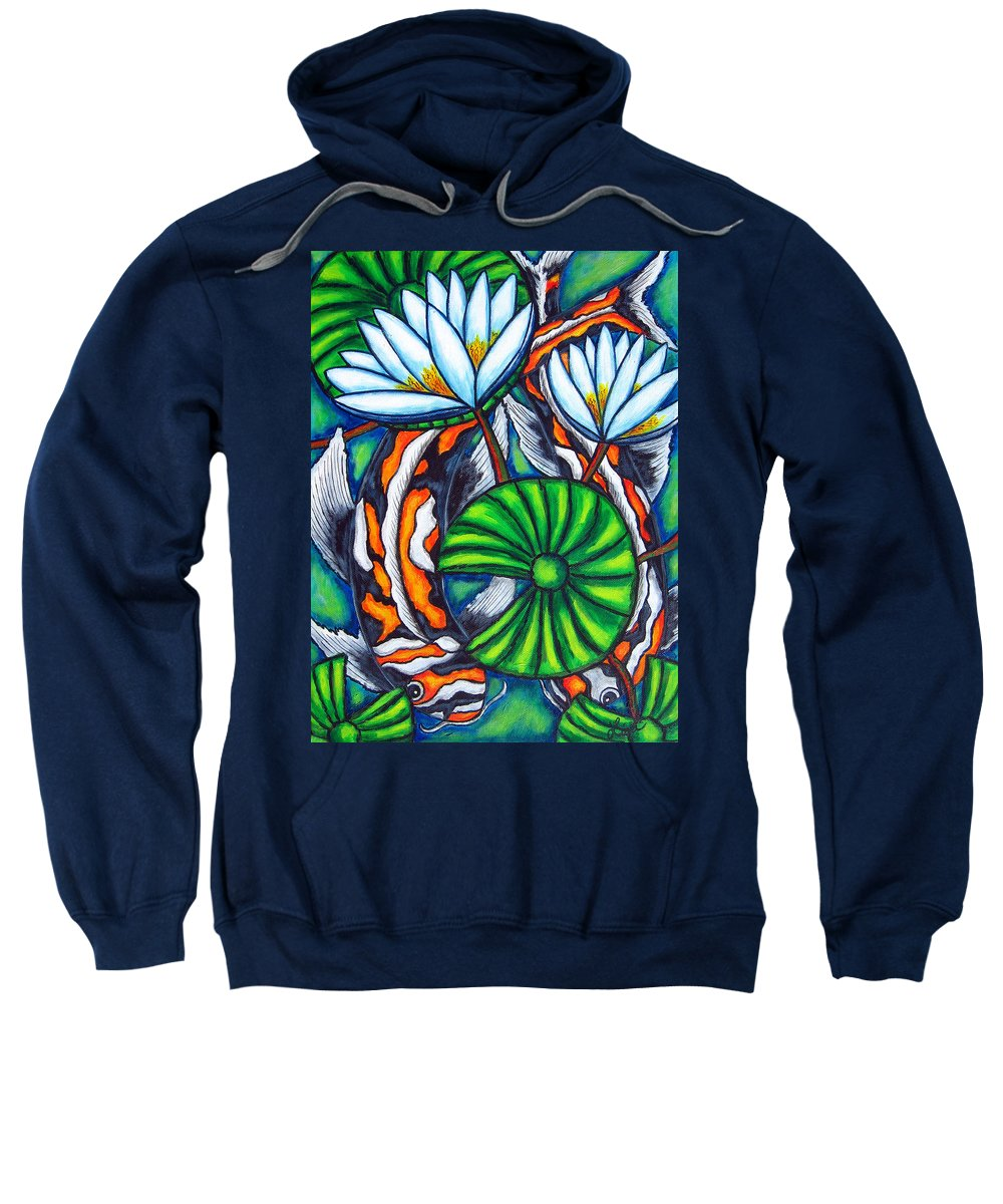Koi Sweatshirt featuring the painting Coy Carp by Lisa Lorenz