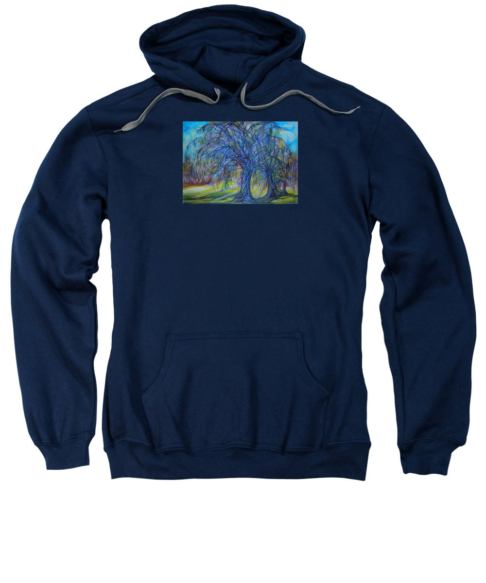 Blue Sweatshirt featuring the drawing Crystal Light by Anna Duyunova
