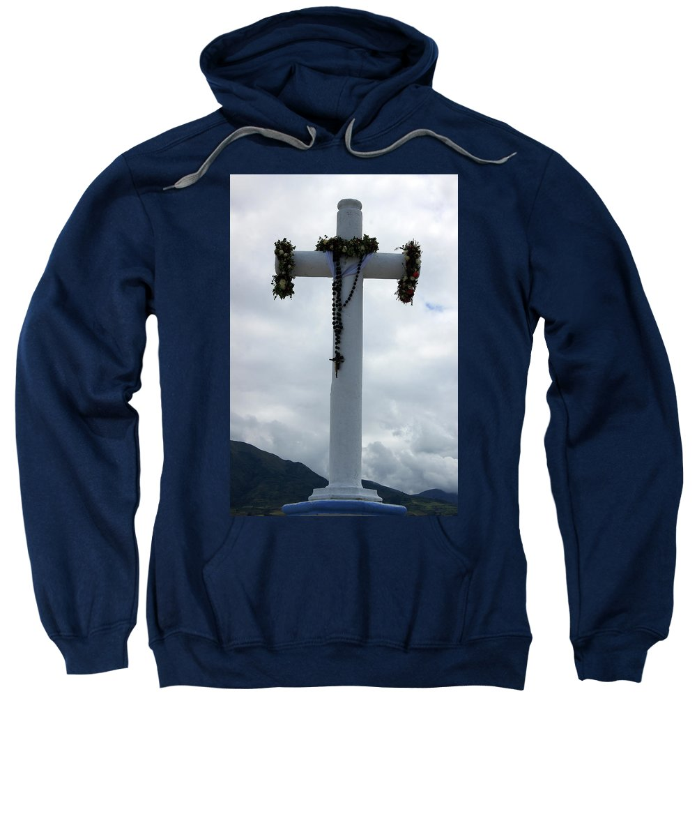 Cross Sweatshirt featuring the photograph Cross With Flower Wreaths by Robert Hamm