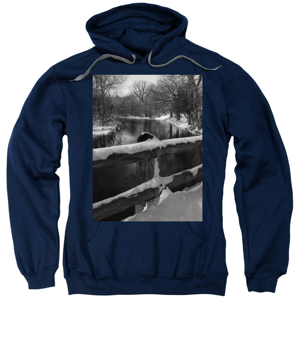 Bridge Sweatshirt featuring the photograph Crossing Cedar Creek by David T Wilkinson