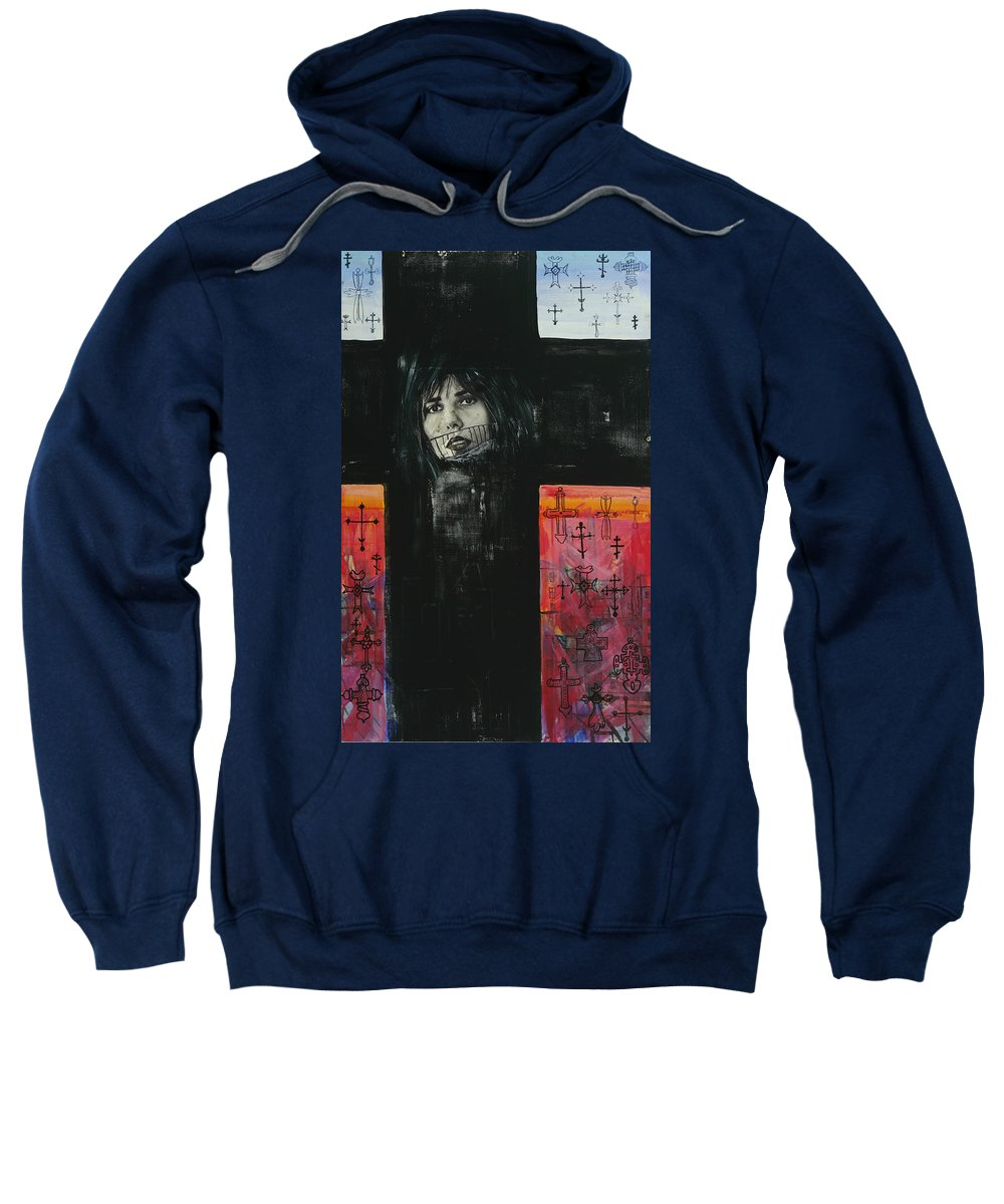 Cross Sweatshirt featuring the painting Crossroad by Yelena Tylkina