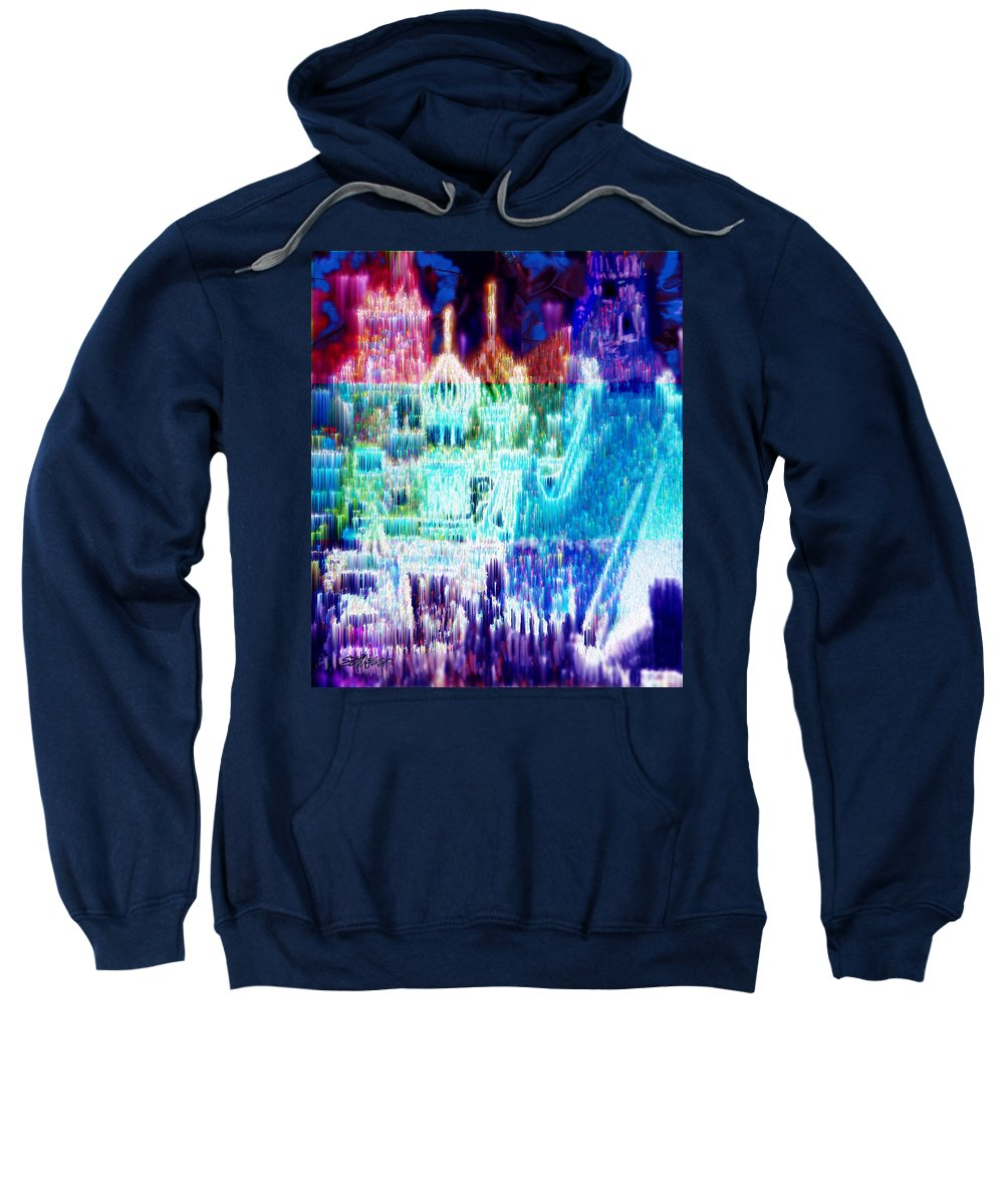 Northern Lights Sweatshirt featuring the digital art Crystal City by Seth Weaver