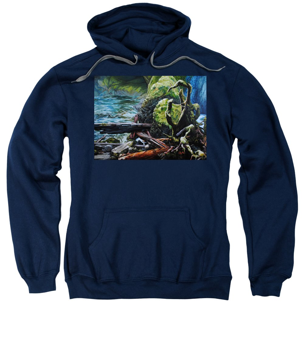 Nature Sweatshirt featuring the painting Currents by Chris Steinken