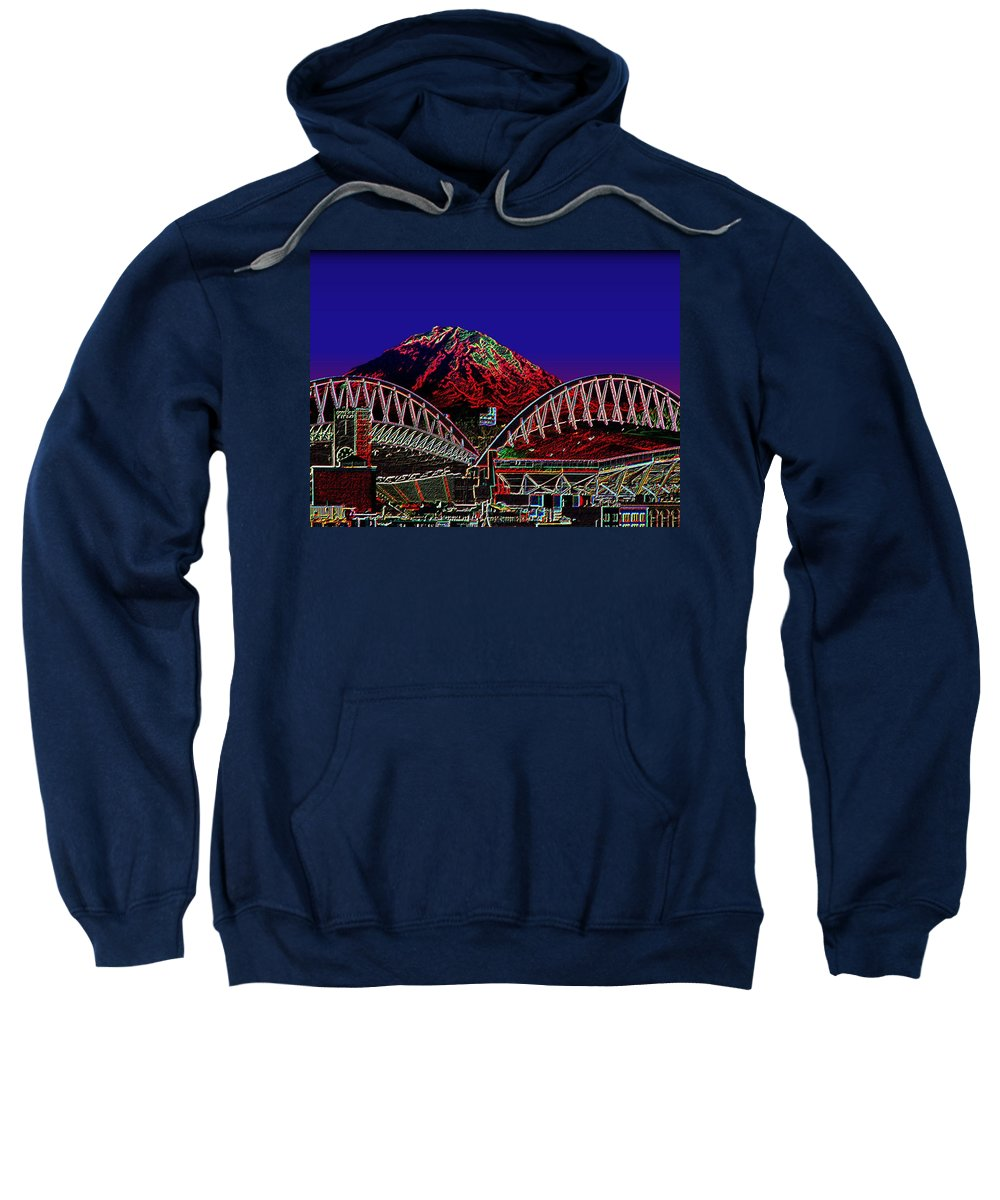 Seattle Sweatshirt featuring the photograph Da Mountain And Stadia 3 by Tim Allen