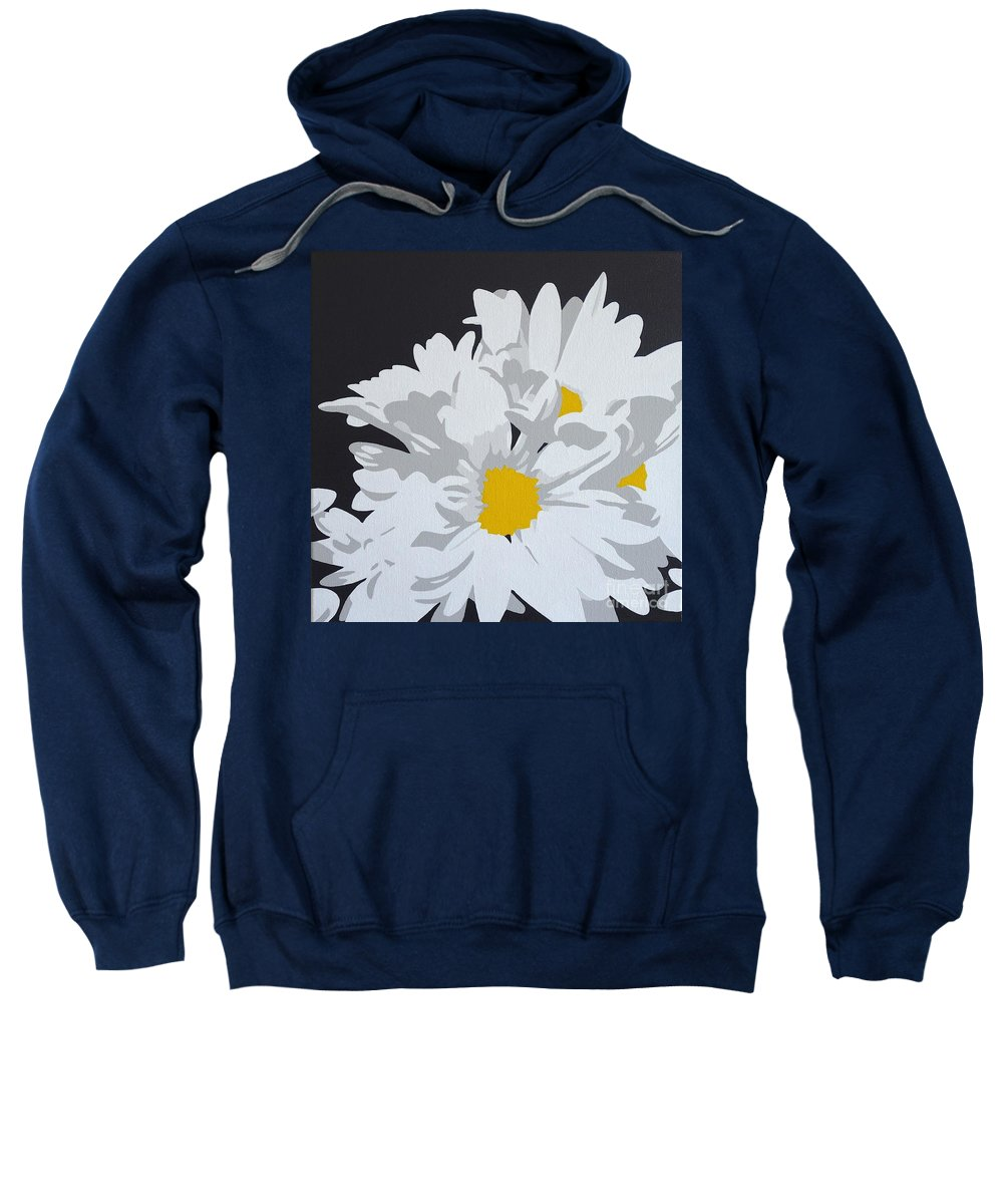 Macro Sweatshirt featuring the painting Daisy, Daisy How Does Your Garden Grow...... by Susan Porter