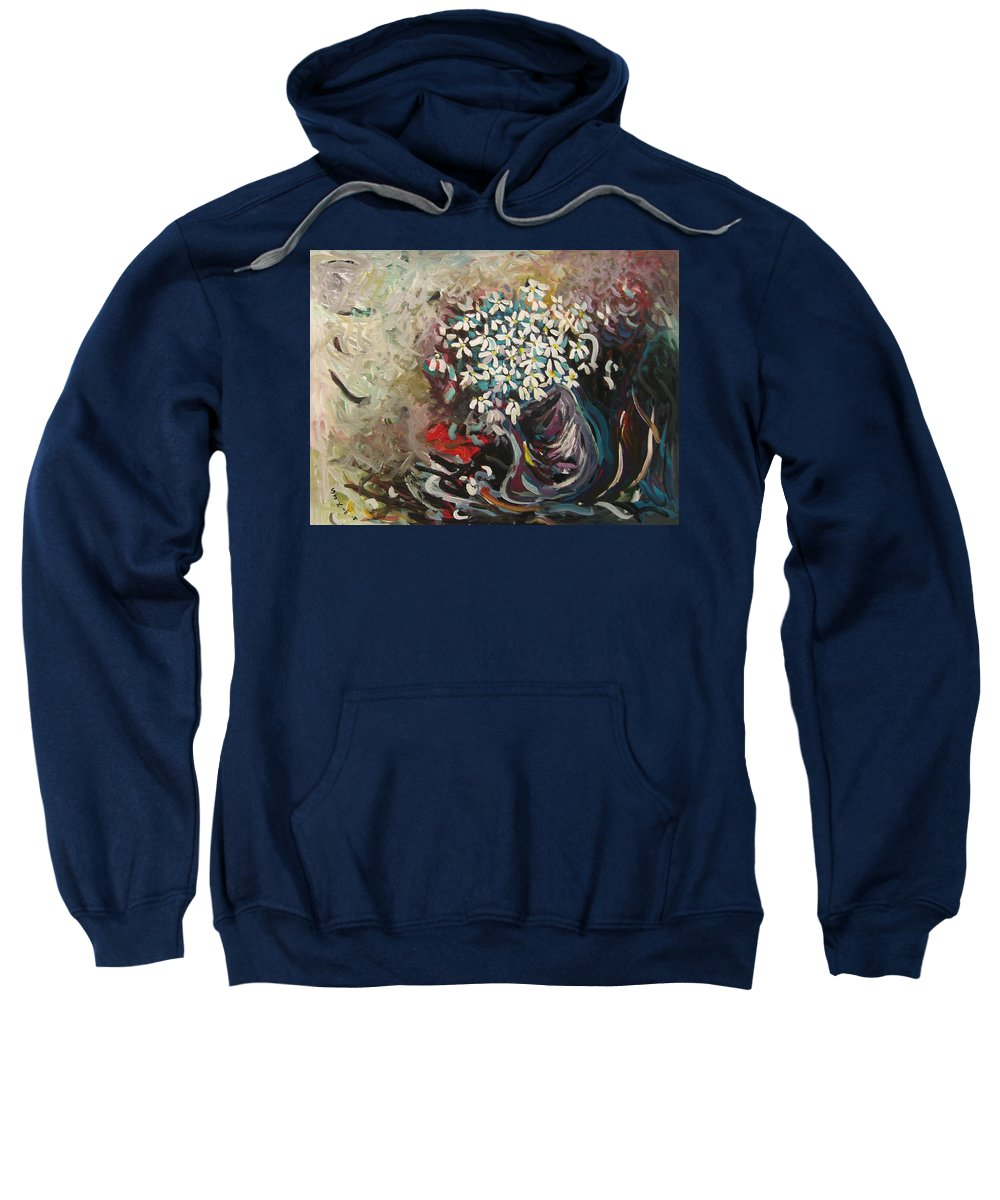 Daisy Paintings Sweatshirt featuring the painting Daisy In Vase3 by Seon-Jeong Kim