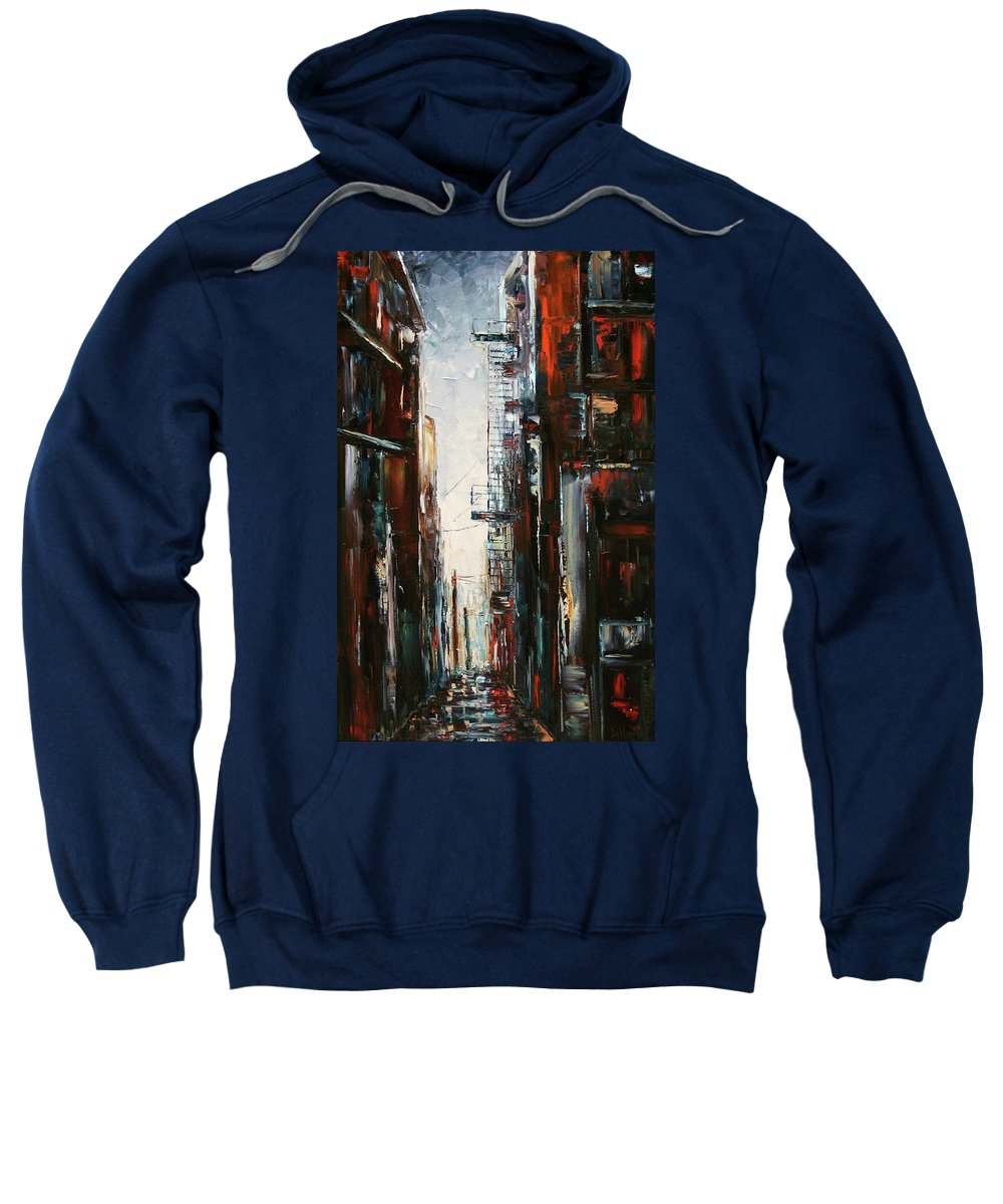 Cityscape Sweatshirt featuring the painting Damp And Cold by Debra Hurd