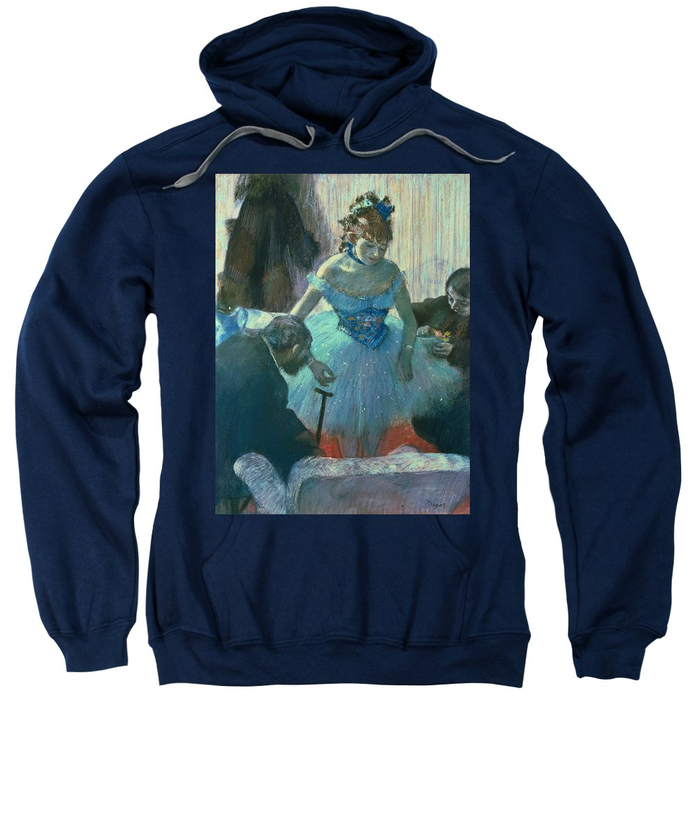 Dancer In Her Dressing Room (pastel) By Edgar Degas (1834-1917) Sweatshirt featuring the pastel Dancer In Her Dressing Room by Edgar Degas