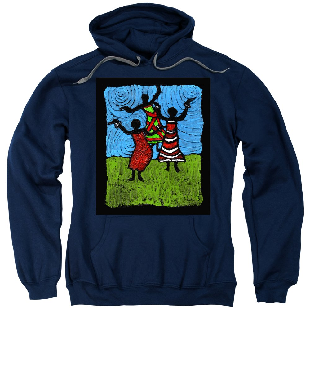 Black Art Sweatshirt featuring the painting Dancing So Good I Started To Fly by Wayne Potrafka