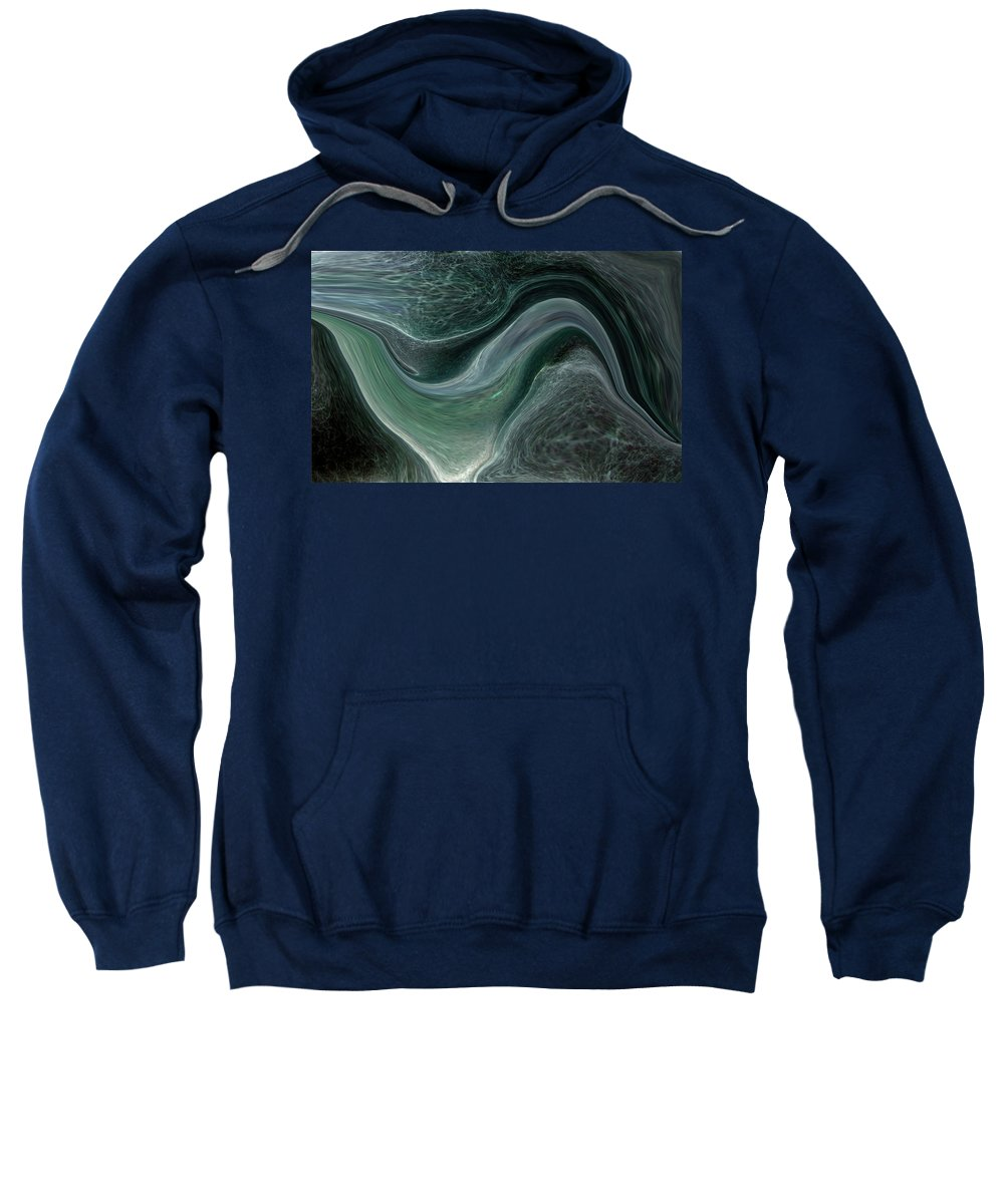 Abstract Sweatshirt featuring the photograph Dark Green Flow by Allan Hughes