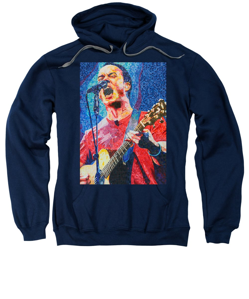 Dave Matthews Sweatshirt featuring the drawing Dave Matthews Squared by Joshua Morton