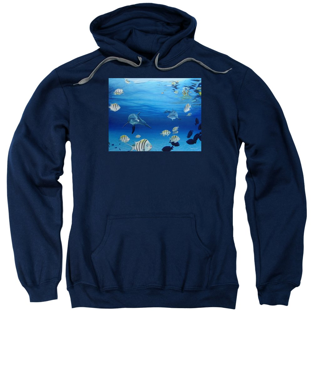 Seascape Sweatshirt featuring the painting Delphinus by Angel Ortiz