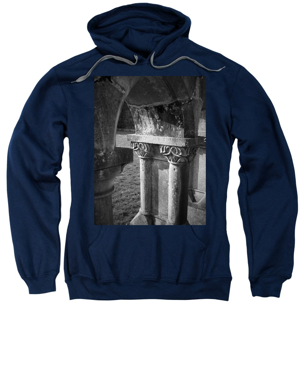 Irish Sweatshirt featuring the photograph Detail Of Cloister At Cong Abbey Cong Ireland by Teresa Mucha