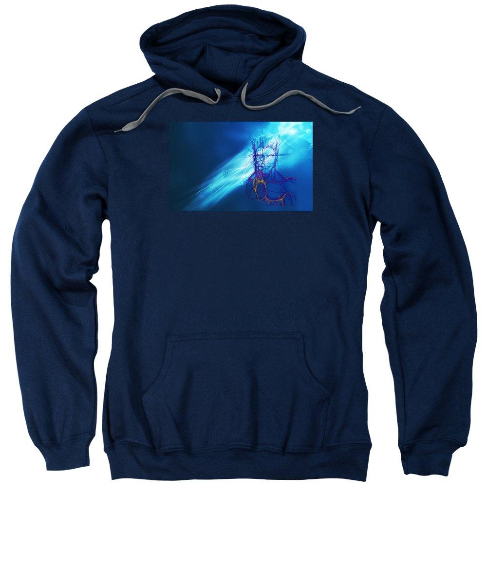 Digital Art Sweatshirt featuring the digital art Digital Liquid by Isaac Feliciano