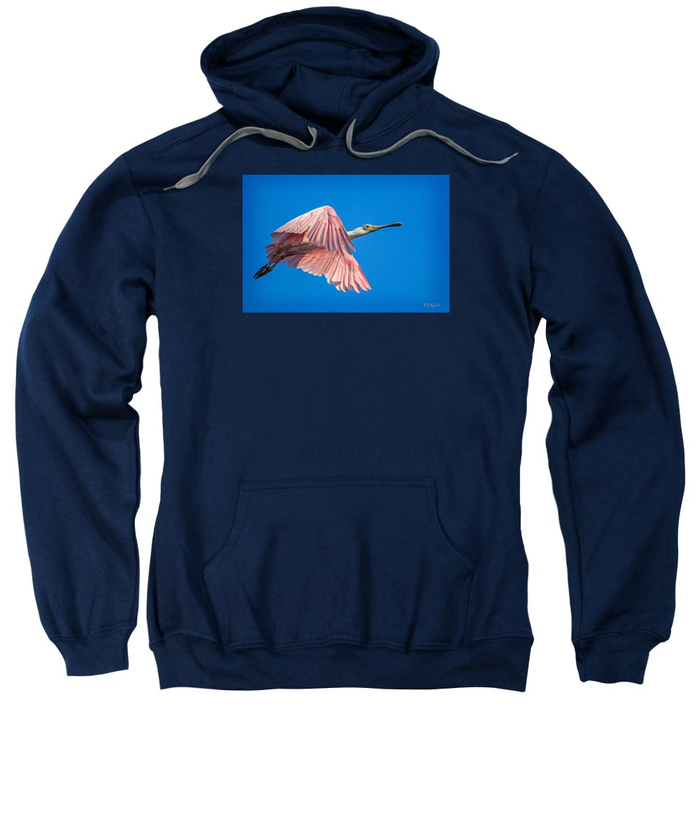 Florida Sweatshirt featuring the photograph Ding Darling - Roseate Spoonbill - Taking Flight In Portrait by Ronald Reid