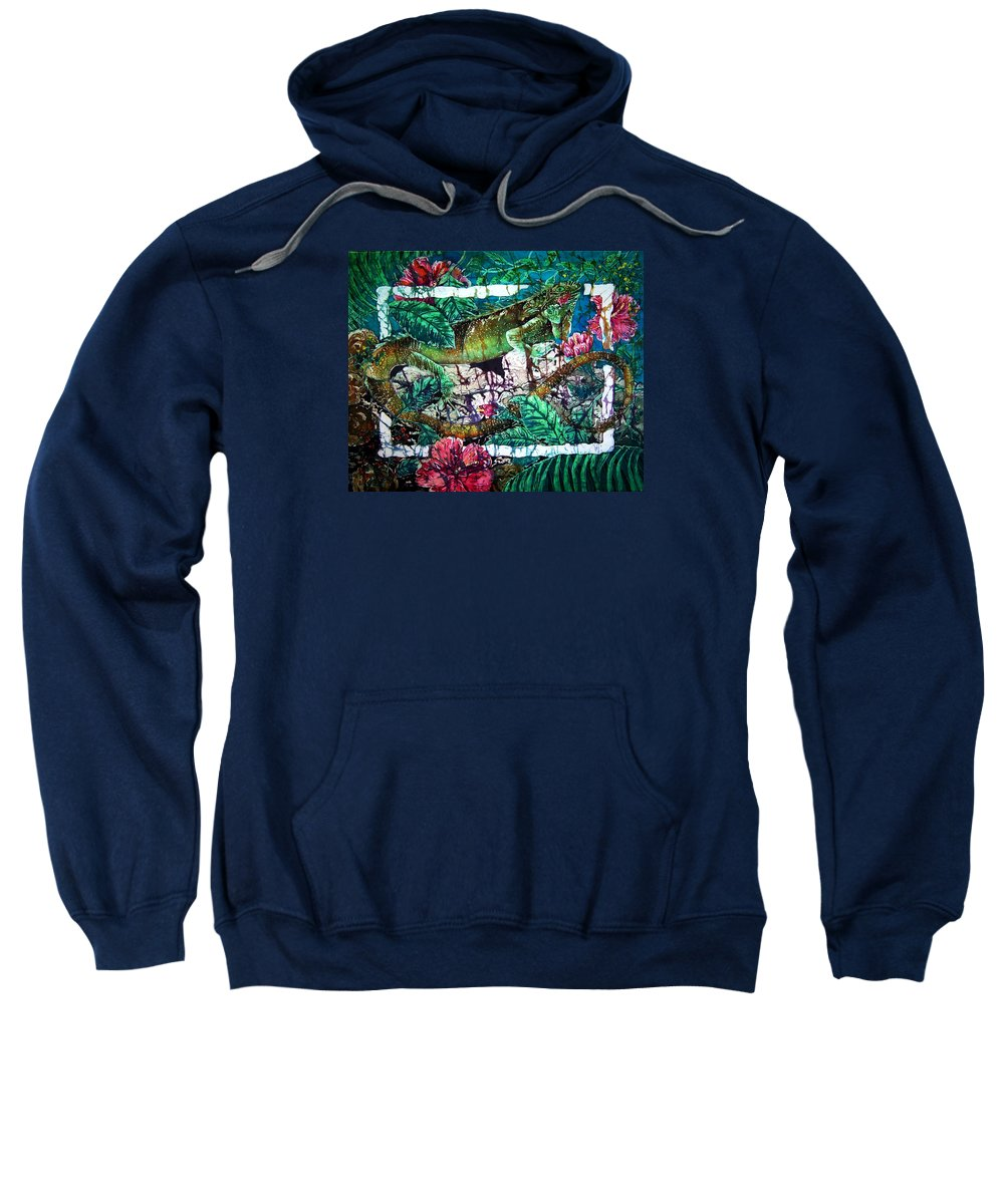Iguana Sweatshirt featuring the painting Dining At The Hibiscus Cafe - Iguana by Sue Duda