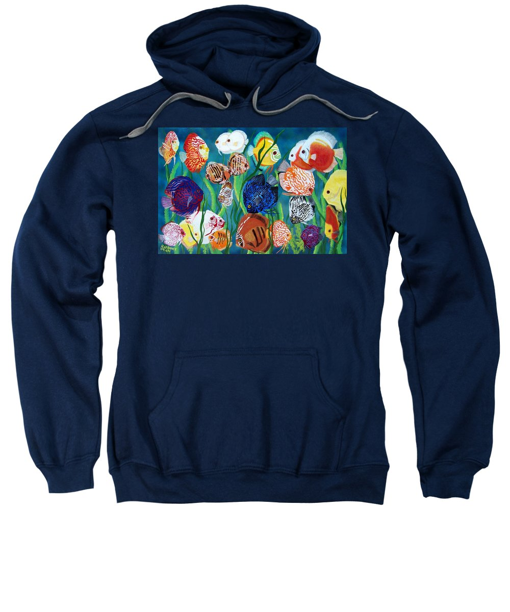 Fish Sweatshirt featuring the painting Discus Fantasy by Debbie LaFrance