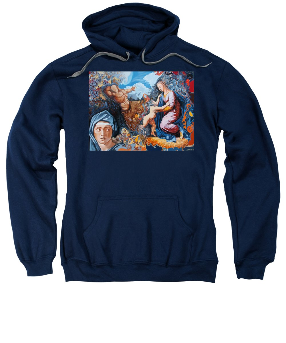 Surrealism Sweatshirt featuring the painting Disintegration Of The Old Ancient World by Darwin Leon