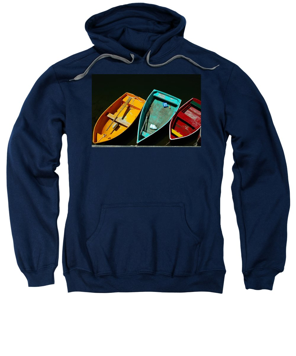 Landscape Nautical Row Boat New England Rockport Sweatshirt featuring the photograph Dnre0603 by Henry Butz