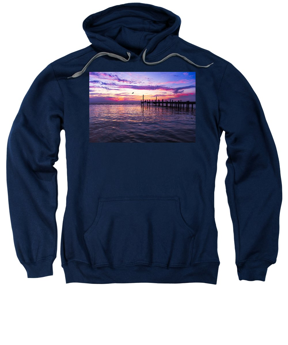Dock Sweatshirt featuring the photograph Dockside Sunset by Janet Fikar