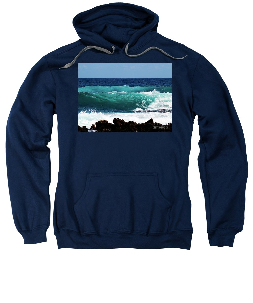 Fine Art Photography Sweatshirt featuring the photograph Double Waves by Patricia Griffin Brett