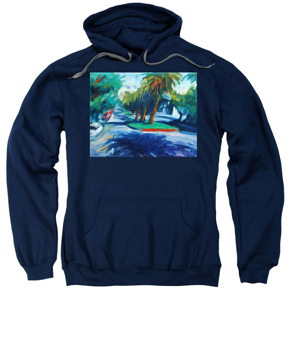 San Francisco Sweatshirt featuring the painting Downhill by Rick Nederlof