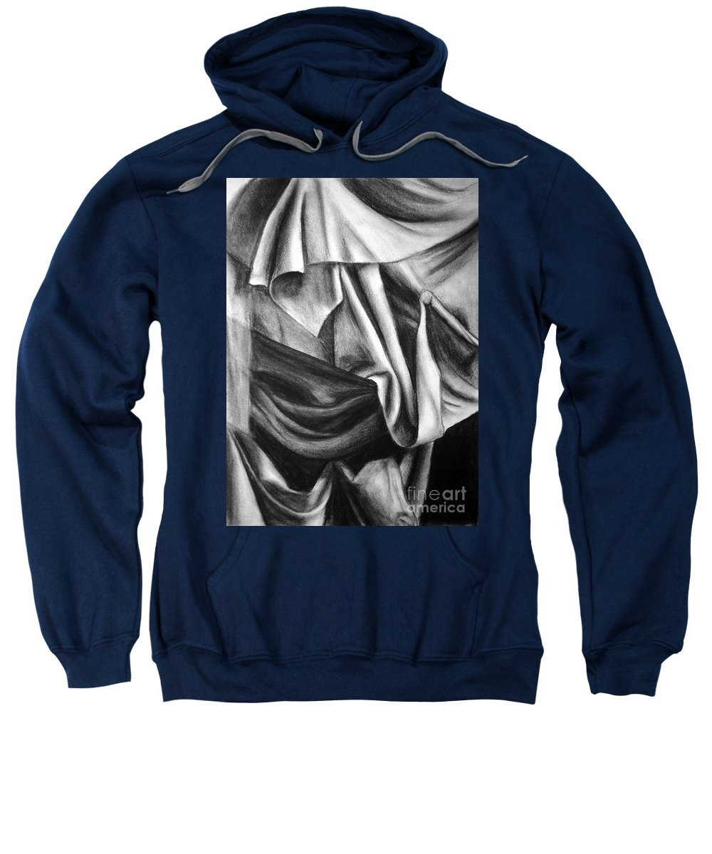Charcoal Sweatshirt featuring the drawing Drapery Still Life by Nancy Mueller