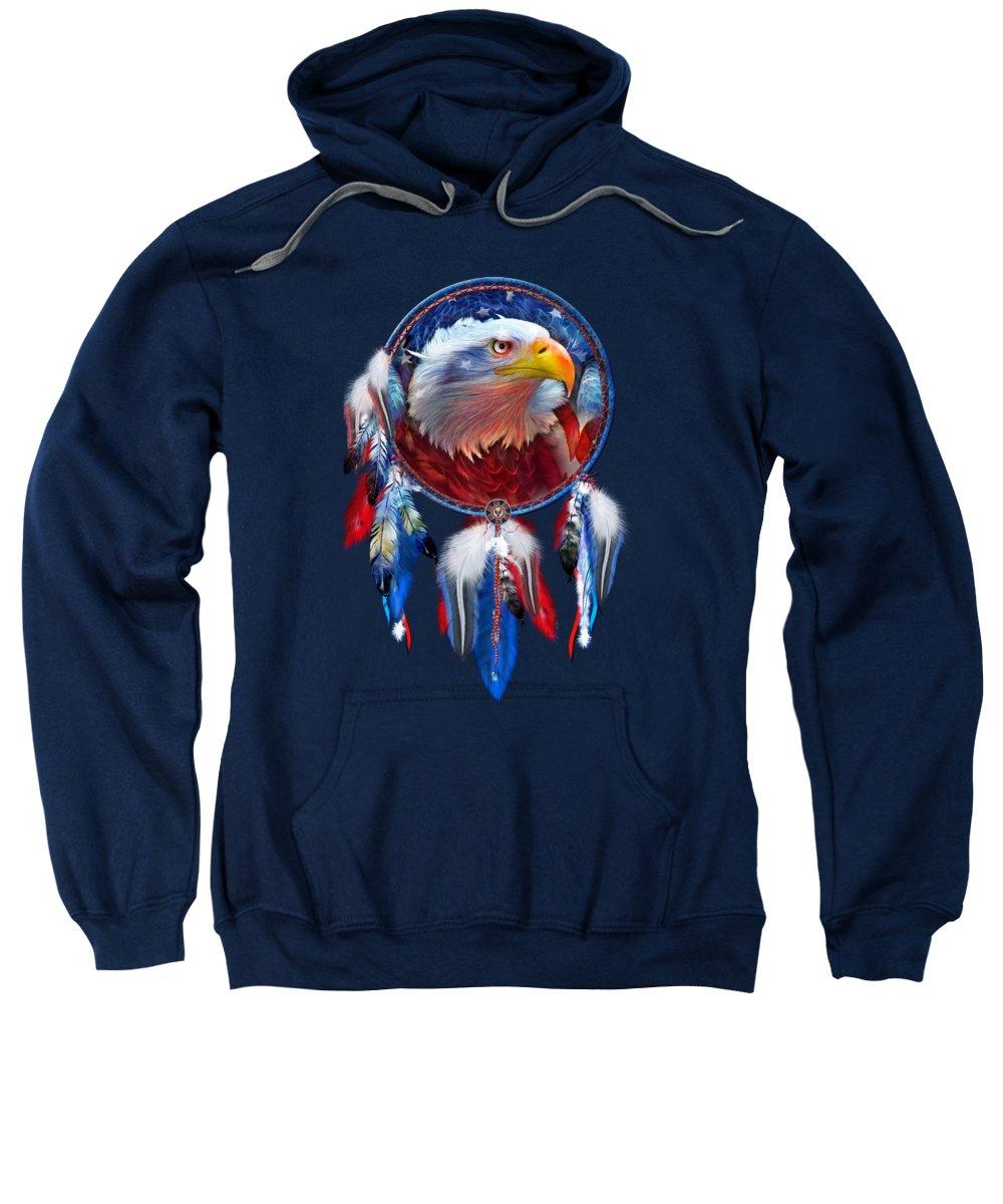Carol Cavalaris Sweatshirt featuring the mixed media Dream Catcher - Eagle Red White Blue by Carol Cavalaris