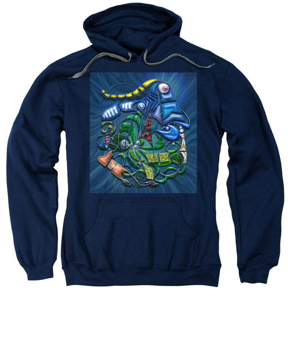 Blue Sweatshirt featuring the digital art Dreaming With The Fishes by Mark Sellers