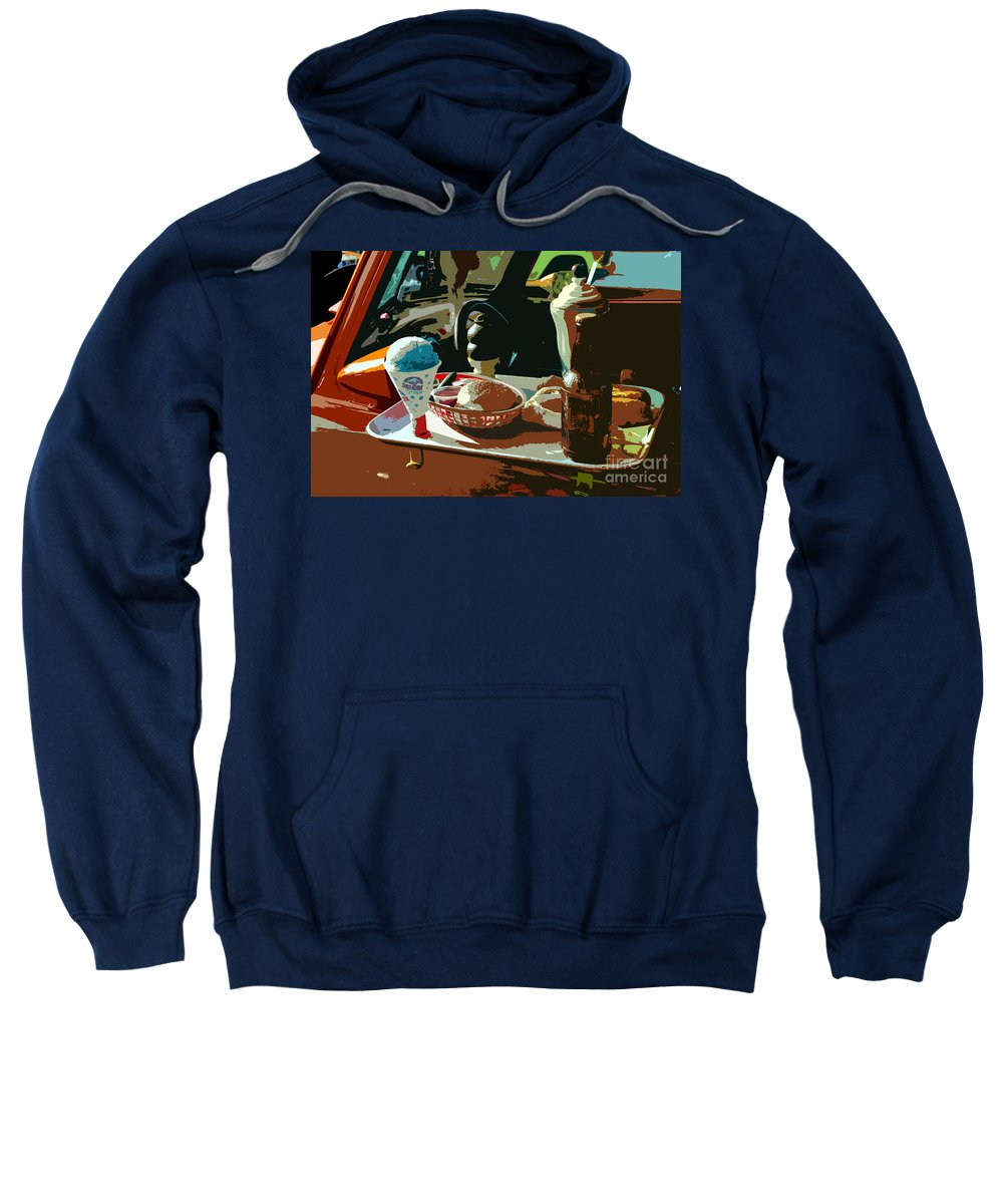 Classic Car Sweatshirt featuring the painting Drive In by David Lee Thompson