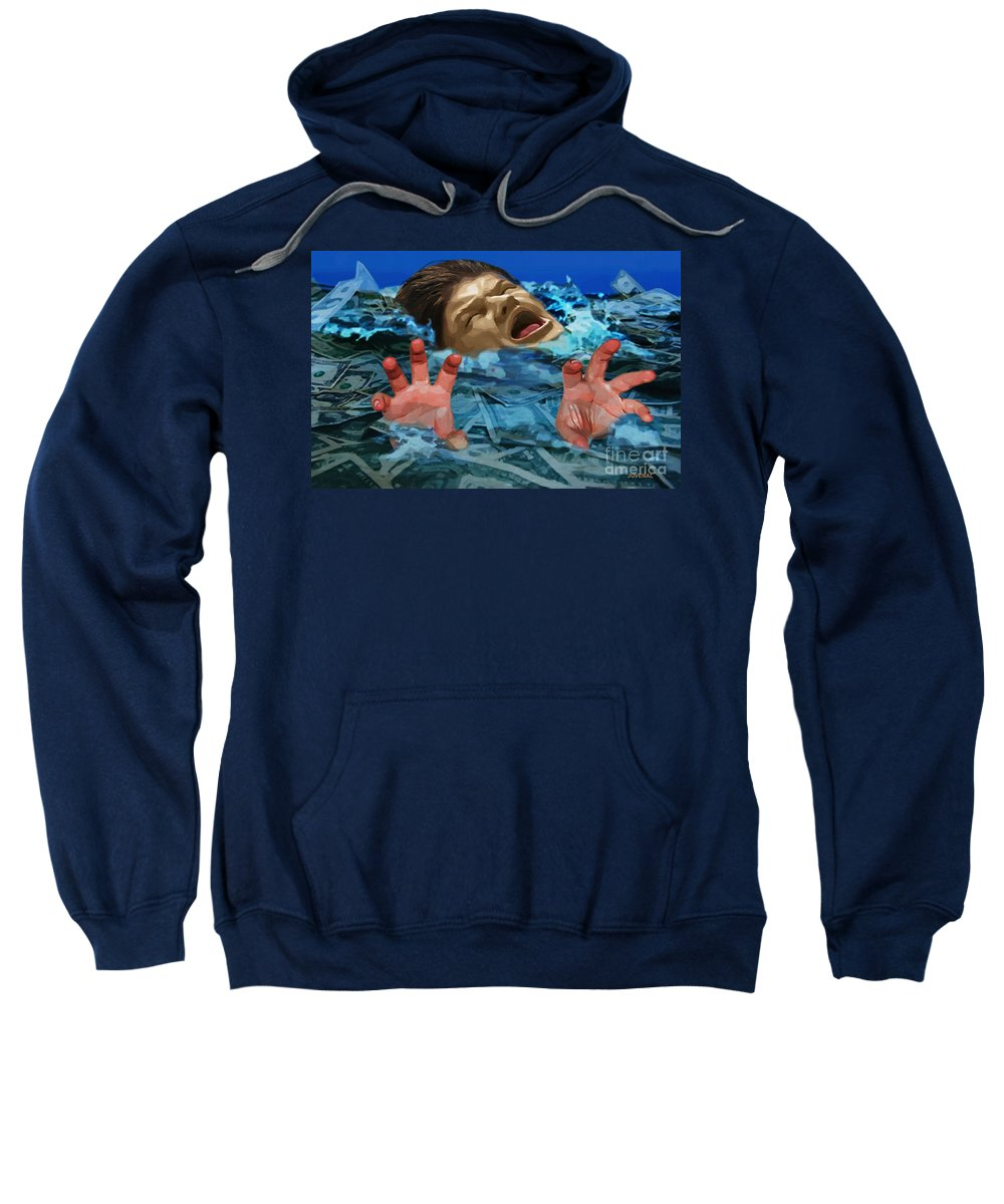 Canvas Prints Sweatshirt featuring the digital art Drowning In Wealth by Joseph Juvenal