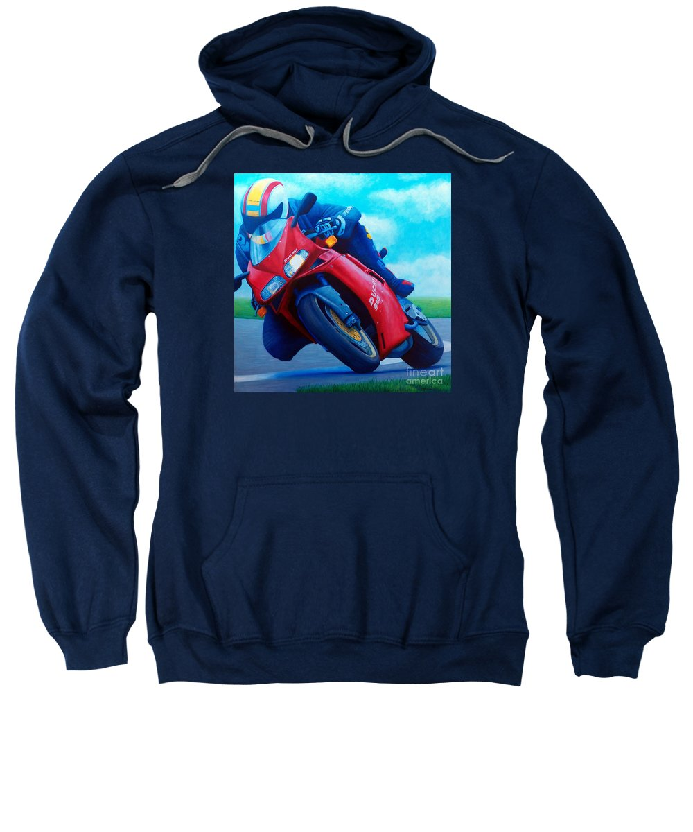 Motorcycle Sweatshirt featuring the painting Ducati 916 by Brian Commerford