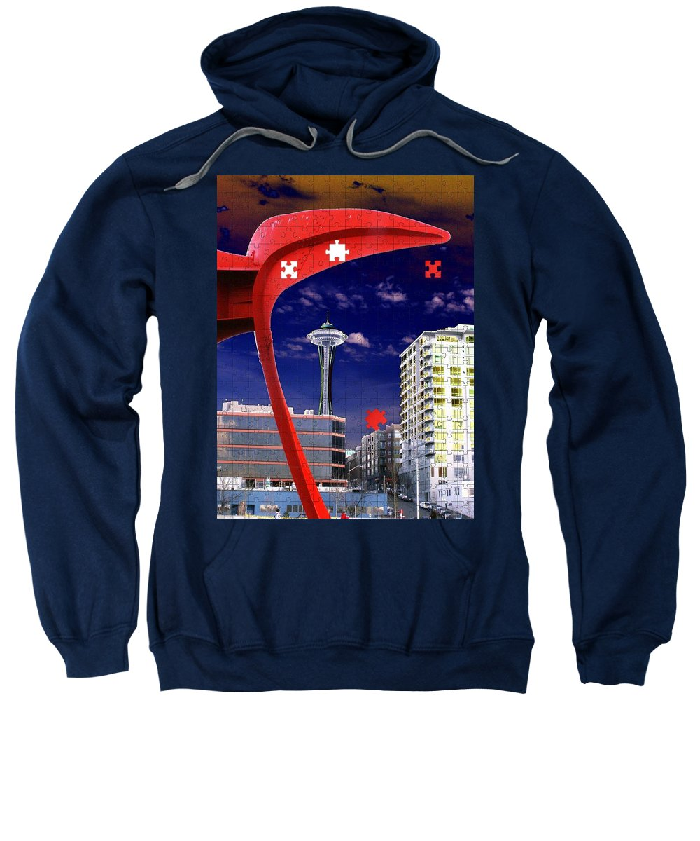 Seattle Sweatshirt featuring the digital art Eagle Needle by Tim Allen