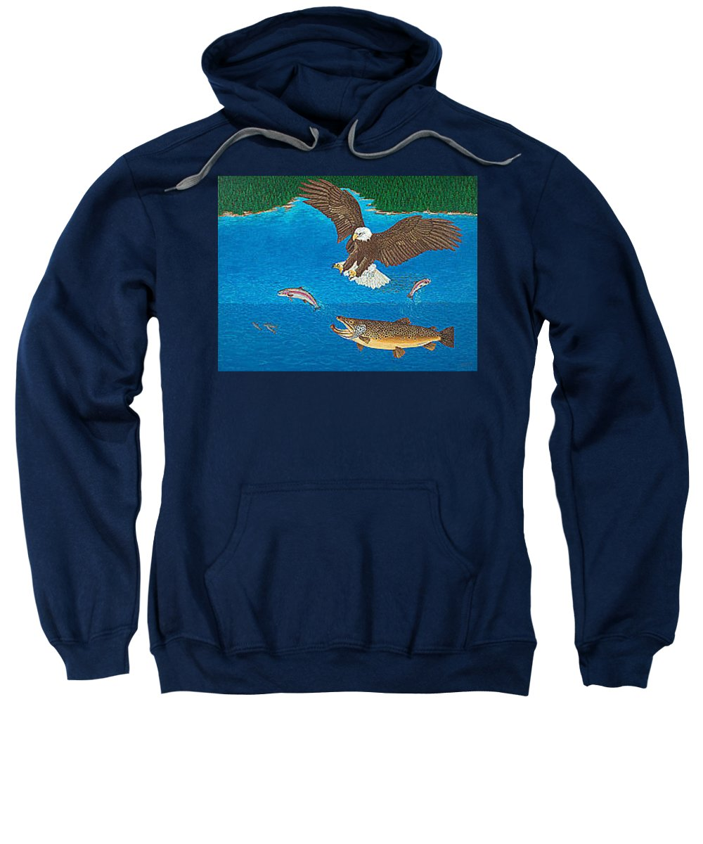 Art Print Prints Giclee Canvas Framed Brown Trout Eagle Lake Mountain Forest Nature Wildlife Wall Sweatshirt featuring the painting Eagle Trophy Brown Trout Rainbow Trout Art Print Blue Mountain Lake Artwork Giclee Birds Wildlife by Baslee Troutman