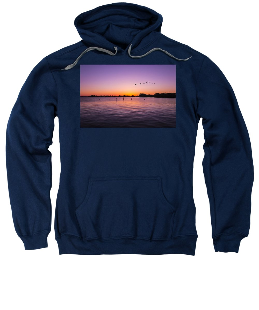 Lake Sweatshirt featuring the photograph Early Birds by Gabe Jacobs
