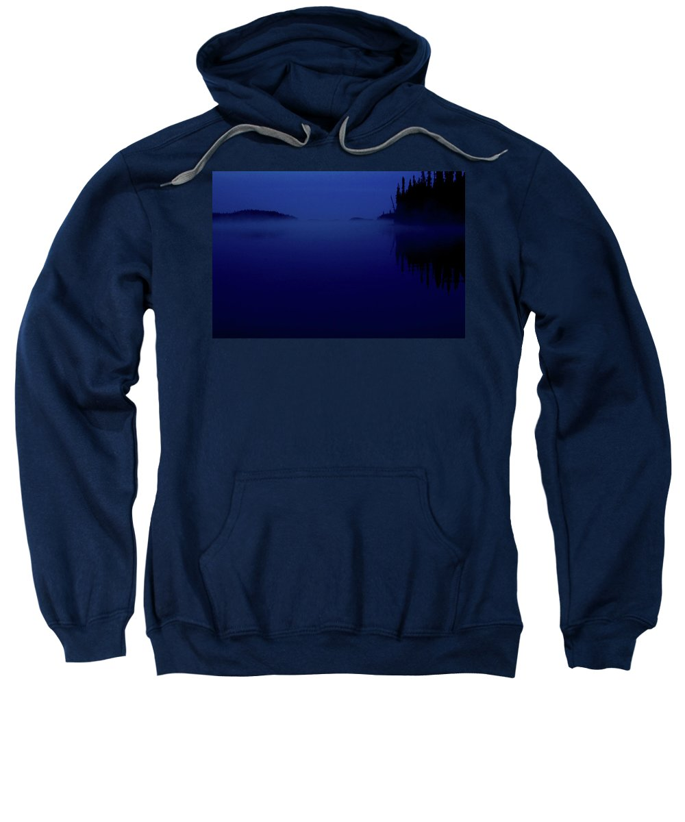 Dark Sweatshirt featuring the digital art Early Morning Mist Over Lynx Lake In Northern Saskatchewan by Mark Duffy