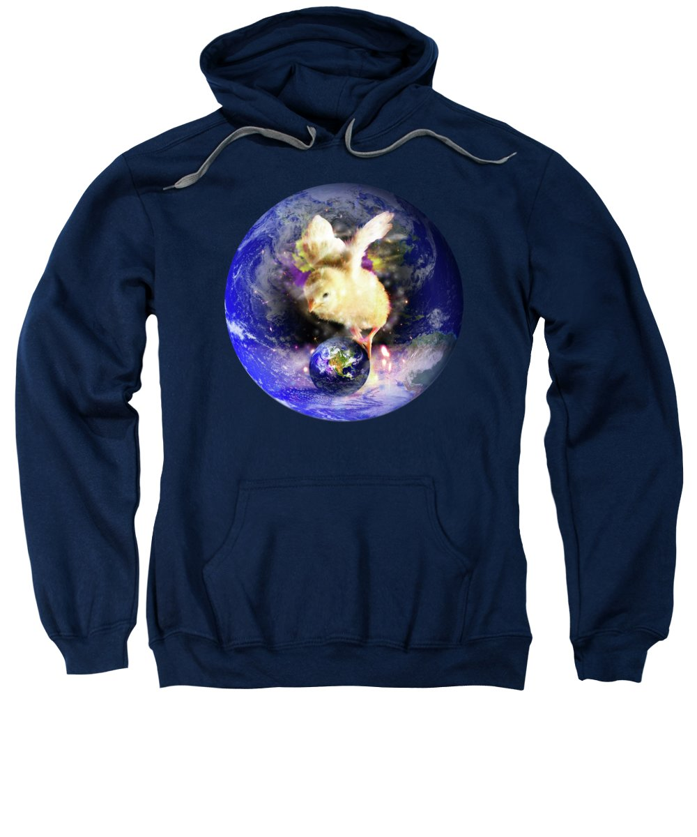 Chick Sweatshirt featuring the digital art Earth Chick by Gravityx9 Designs