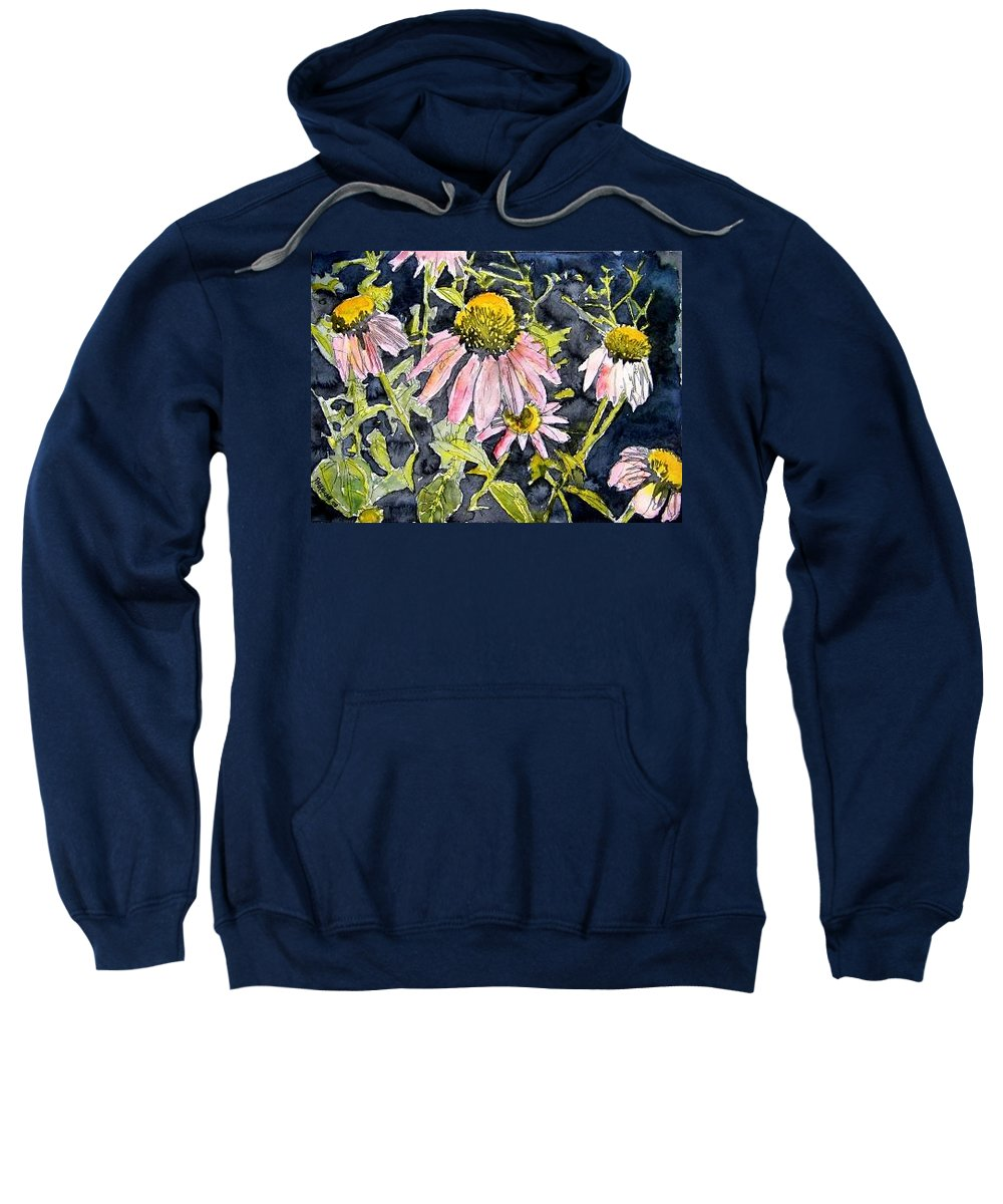 Echinacea Sweatshirt featuring the painting Echinacea Coneflower 2 by Derek Mccrea