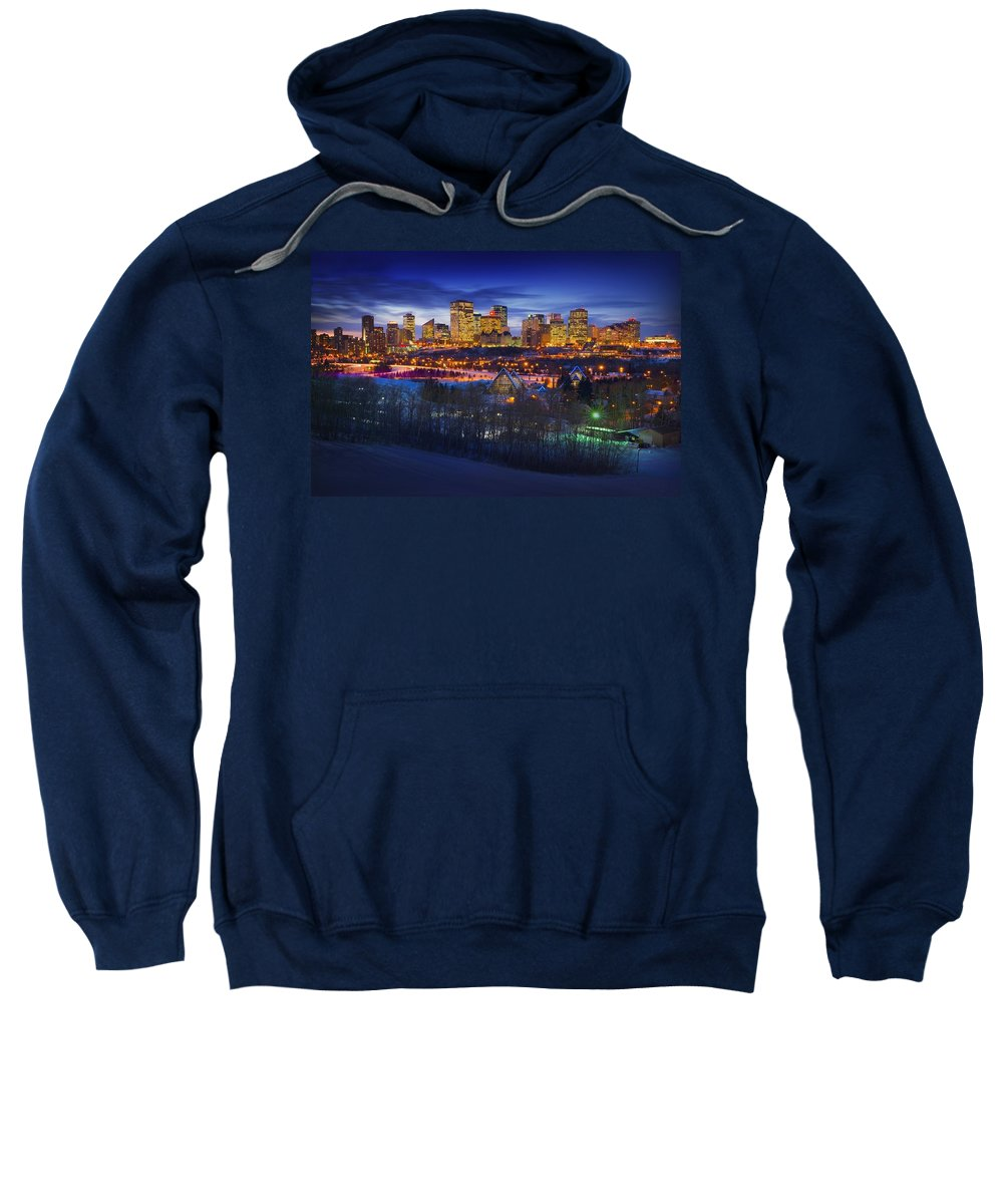 Scenery Sweatshirt featuring the photograph Edmonton Winter Skyline by Corey Hochachka