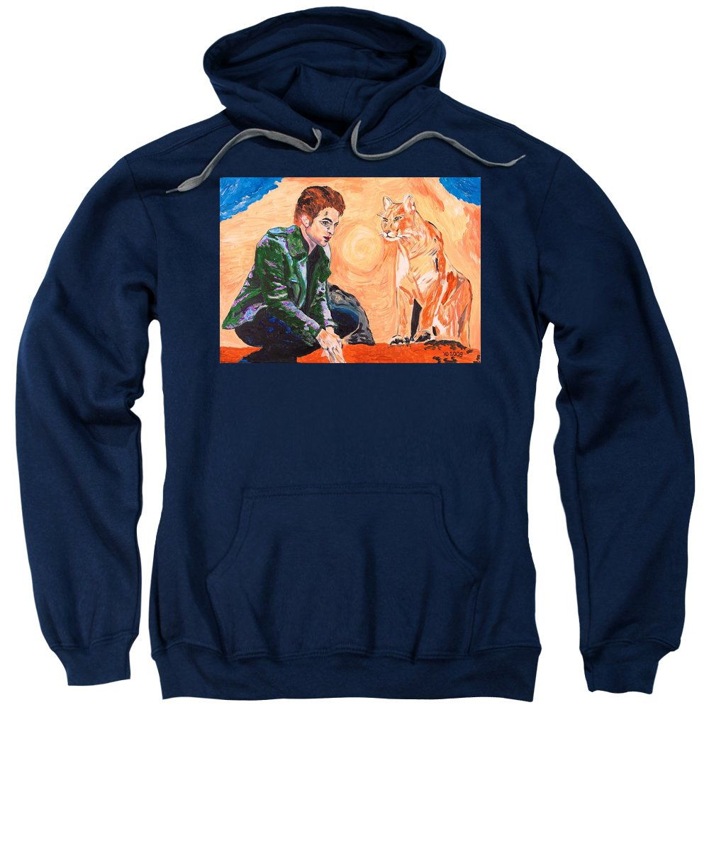 Edward Sweatshirt featuring the painting Edward Cullen And His Diet by Valerie Ornstein