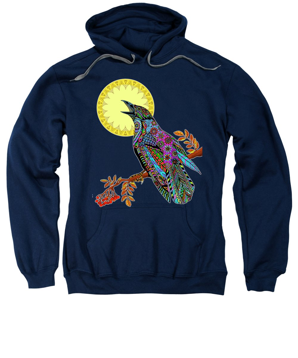Crow Sweatshirt featuring the drawing Electric Crow by Tammy Wetzel