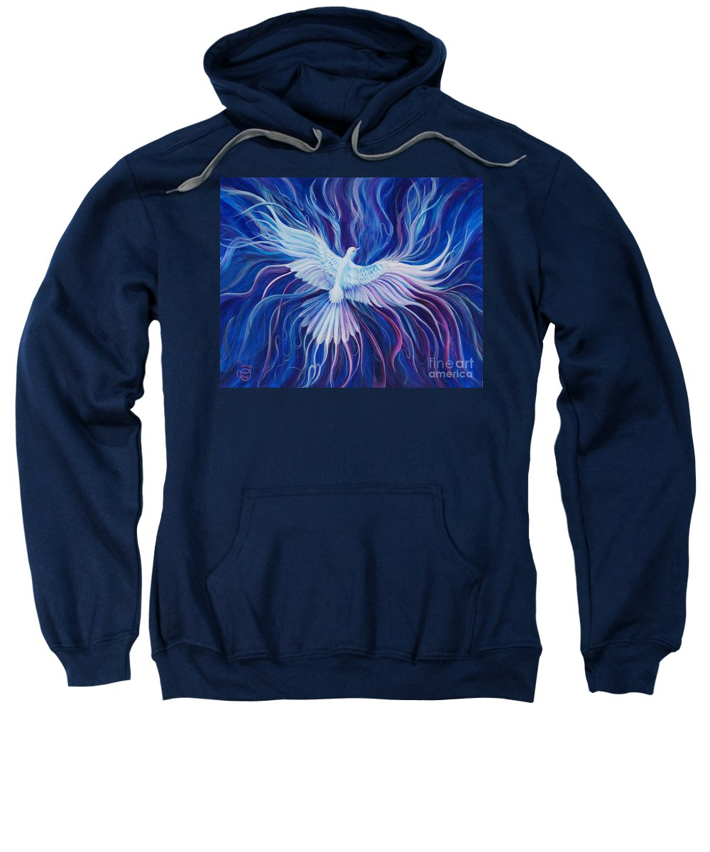 Holy Spirit Sweatshirt featuring the painting Eperchomai by Nancy Cupp