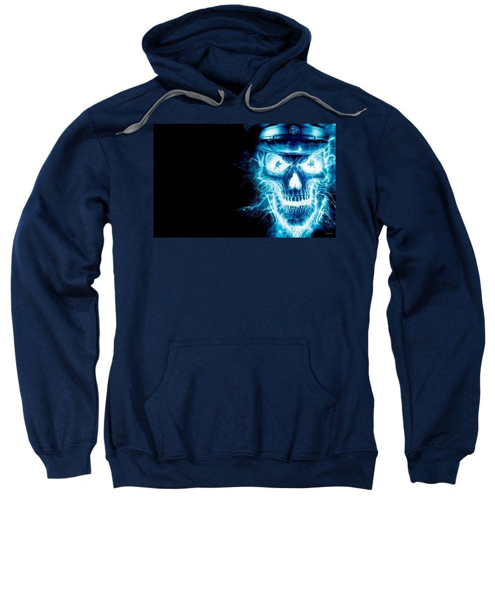 Sweatshirt featuring the digital art Electric Skull by Shawn Durham