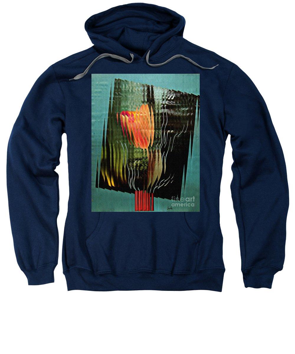 Tulip Sweatshirt featuring the mixed media Electric Tulip 2 by Sarah Loft
